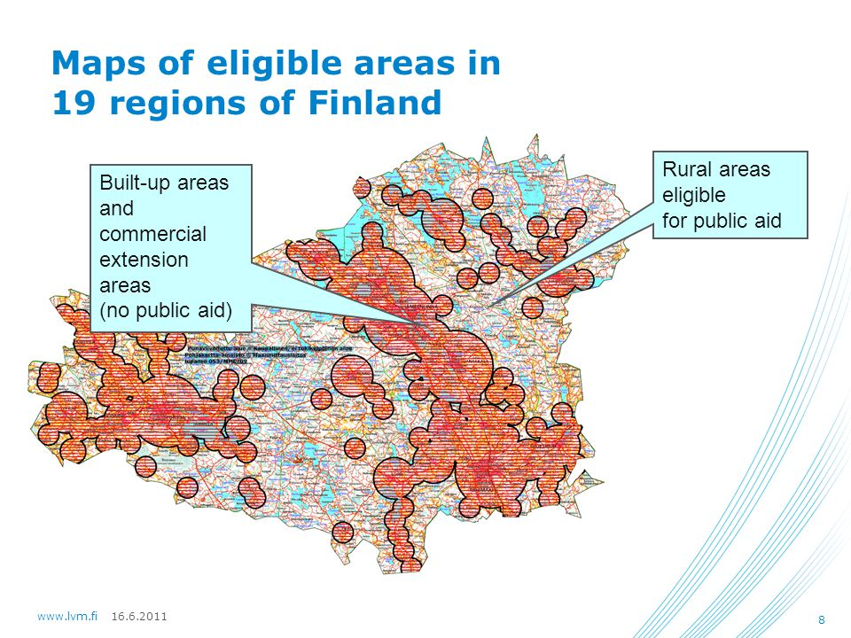 16.6.2011www.lvm.fi 8 Maps of eligible areas in 19 regions of Finland Built-up areas and commercial extension areas (no public aid) Rural areas eligible for public aid