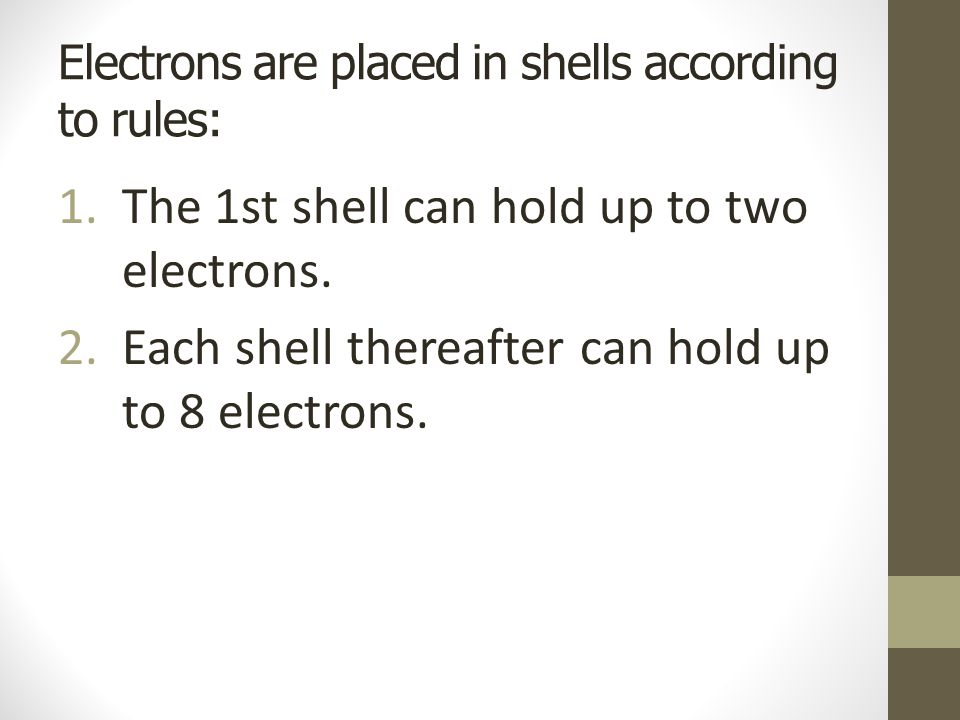 Electrons are placed in shells according to rules: 1.The 1st shell can hold up to two electrons.
