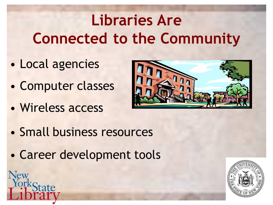 Libraries Are Connected to the Community Local agencies Computer classes Wireless access Career development tools Small business resources