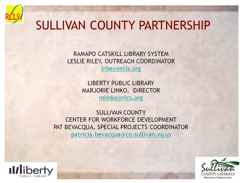 SULLIVAN COUNTY SLIDE PLACE HOLDER Please use this slide as an introduction page.