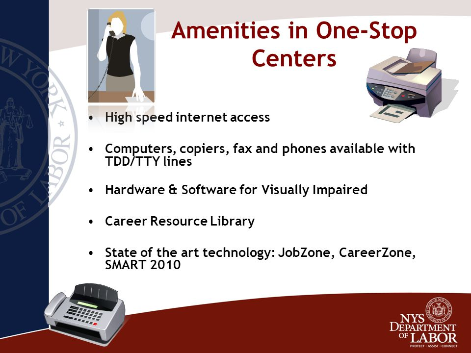 Amenities in One-Stop Centers High speed internet access Computers, copiers, fax and phones available with TDD/TTY lines Hardware & Software for Visually Impaired Career Resource Library State of the art technology: JobZone, CareerZone, SMART 2010