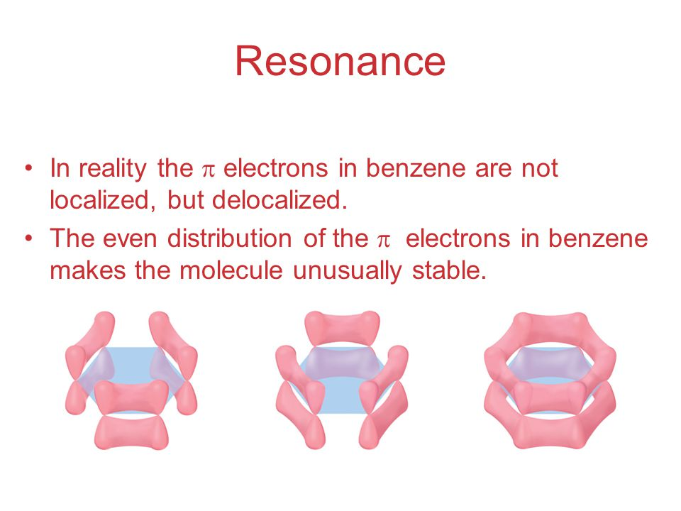 Resonance In reality the  electrons in benzene are not localized, but delocalized.