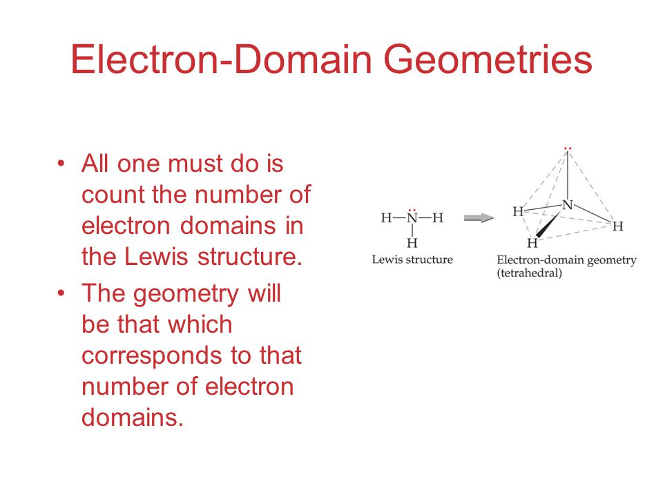 Electron-Domain Geometries All one must do is count the number of electron domains in the Lewis structure.