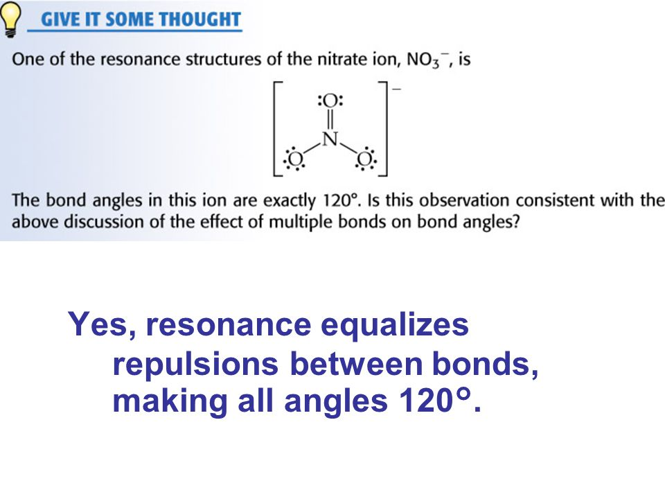 Yes, resonance equalizes repulsions between bonds, making all angles 120°.