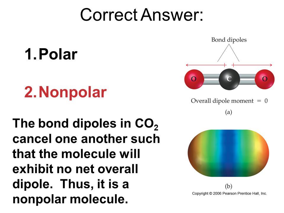 Correct Answer: The bond dipoles in CO 2 cancel one another such that the molecule will exhibit no net overall dipole.