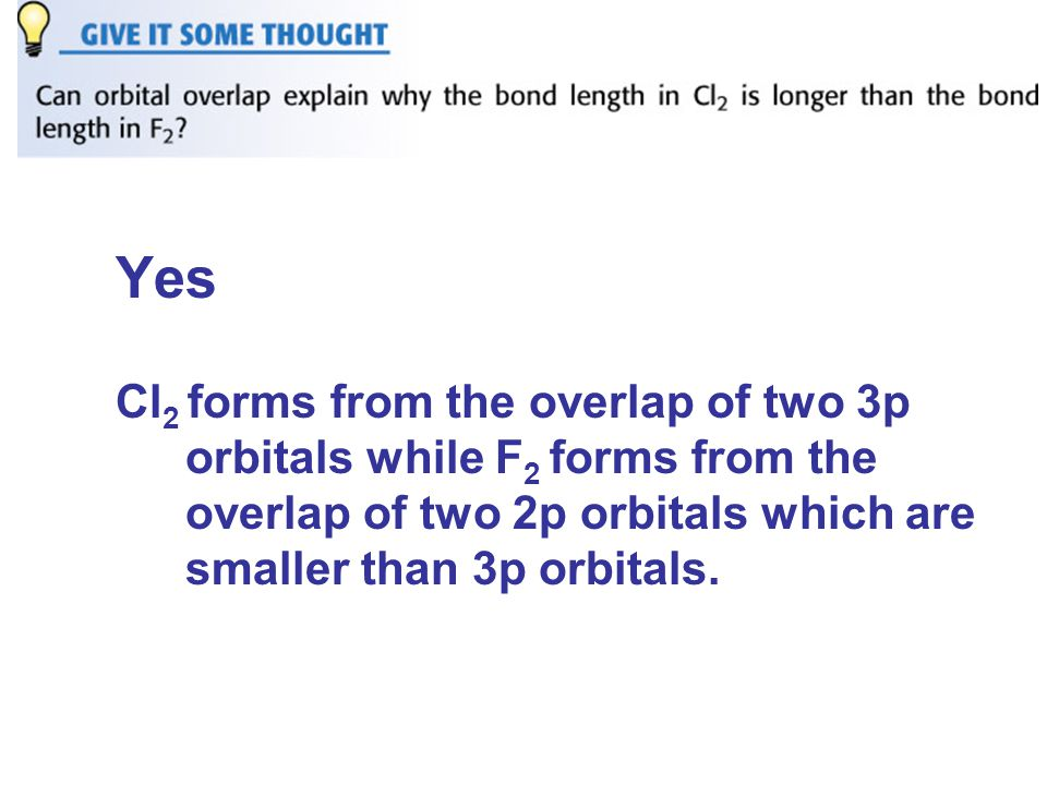 Yes Cl 2 forms from the overlap of two 3p orbitals while F 2 forms from the overlap of two 2p orbitals which are smaller than 3p orbitals.
