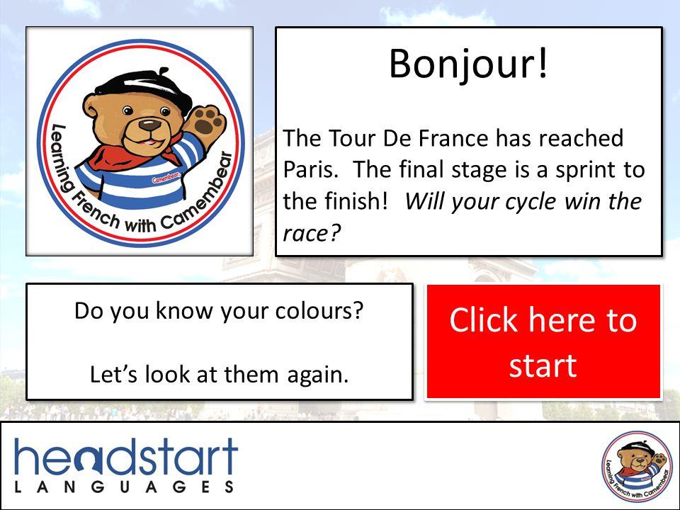 Bonjour.The Tour De France has reached Paris. The final stage is a sprint to the finish.