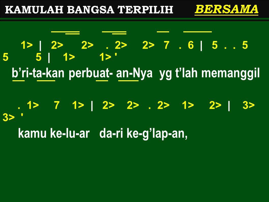 1> | 2> 2>. 2> 2> 7. 6 | 5.. 5 5 5 | 1> 1> ' b'ri-ta-kan perbuat- an-Nya yg t'lah memanggil. 1> 7 1> | 2> 2>. 2> 1> 2> | 3> 3> ' kamu ke-lu-ar da-ri k