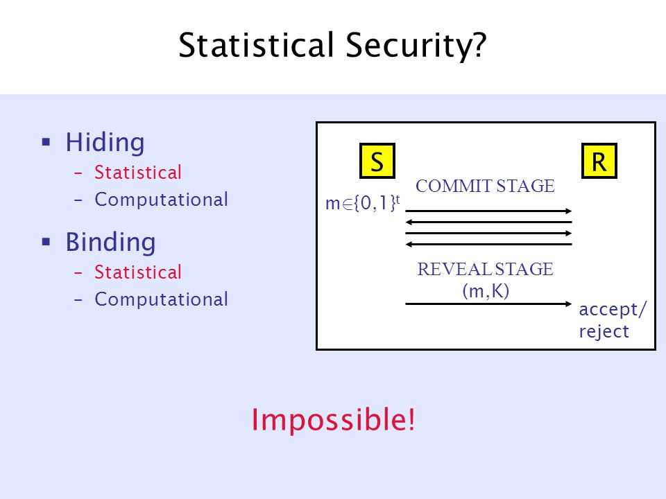 Statistical Security.