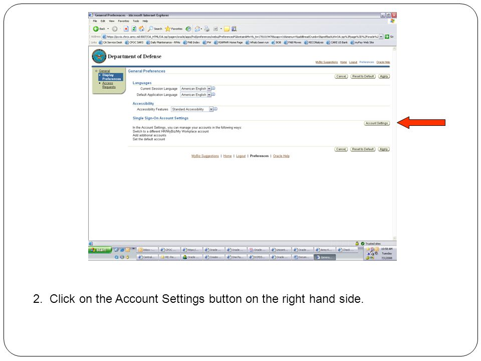2. Click on the Account Settings button on the right hand side.