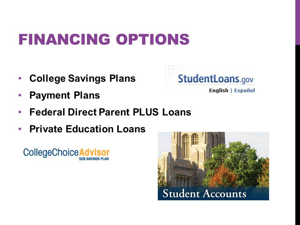 FINANCING OPTIONS College Savings Plans Payment Plans Federal Direct Parent PLUS Loans Private Education Loans