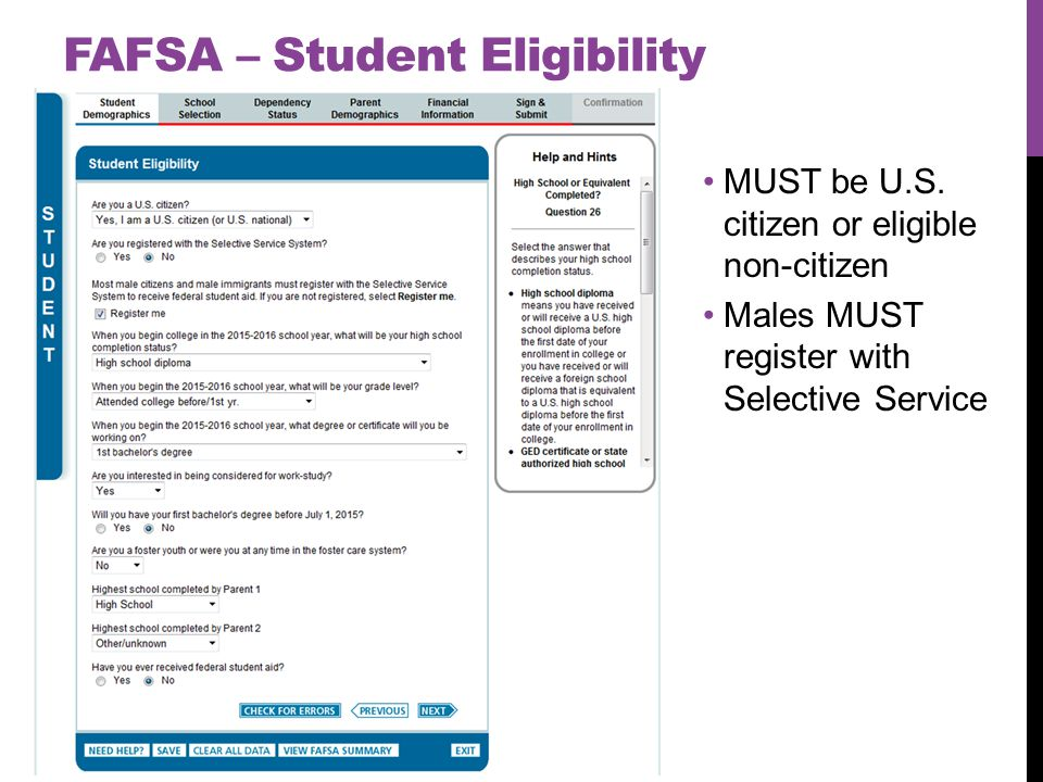 FAFSA – Student Eligibility MUST be U.S.