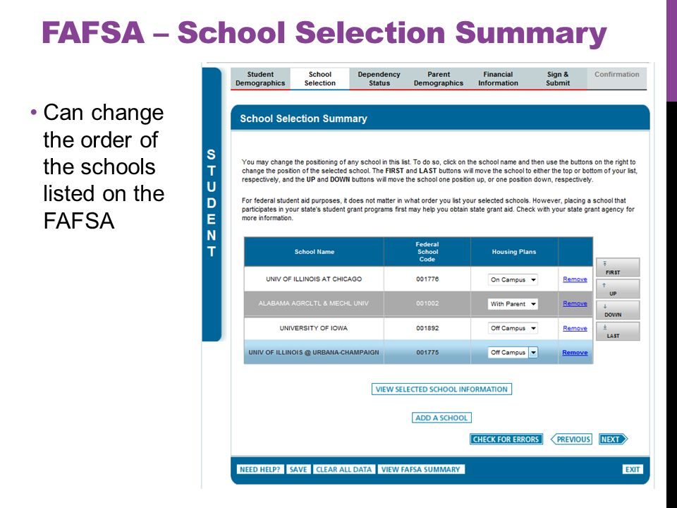 Can change the order of the schools listed on the FAFSA FAFSA – School Selection Summary