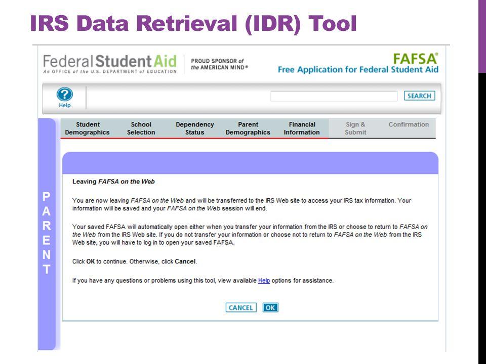 IRS Data Retrieval (IDR) Tool