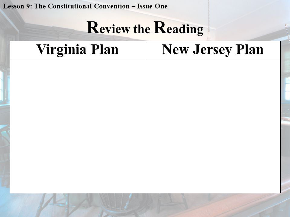 Lesson 9: The Constitutional Convention – Issue One R eview the R eading Virginia PlanNew Jersey Plan
