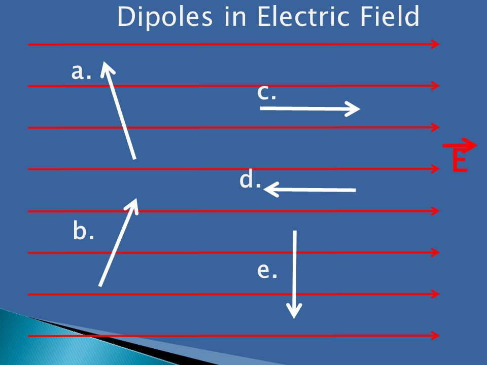 a. b. c. d. e. Dipoles in Electric Field E