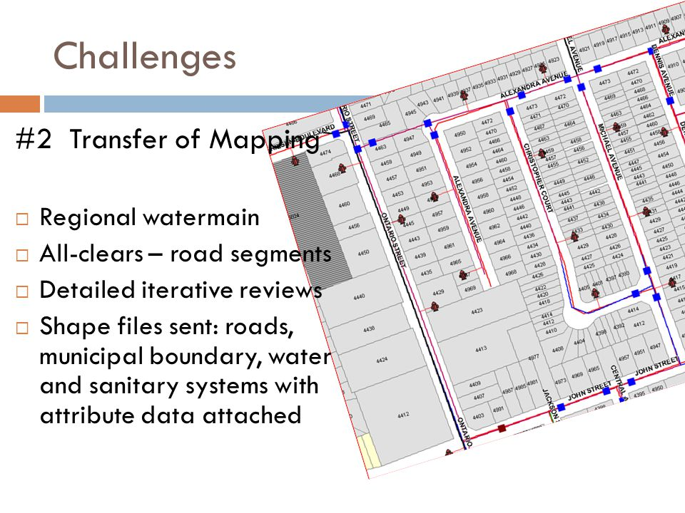 Challenges #2 Transfer of Mapping  Regional watermain  All-clears – road segments  Detailed iterative reviews  Shape files sent: roads, municipal boundary, water and sanitary systems with attribute data attached
