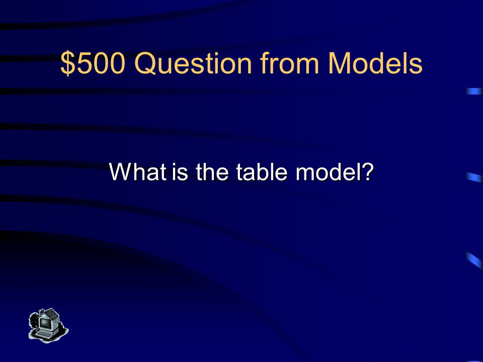 $500 Answer from Models This is the informal set of terms for relational model objects, used most often in database work.