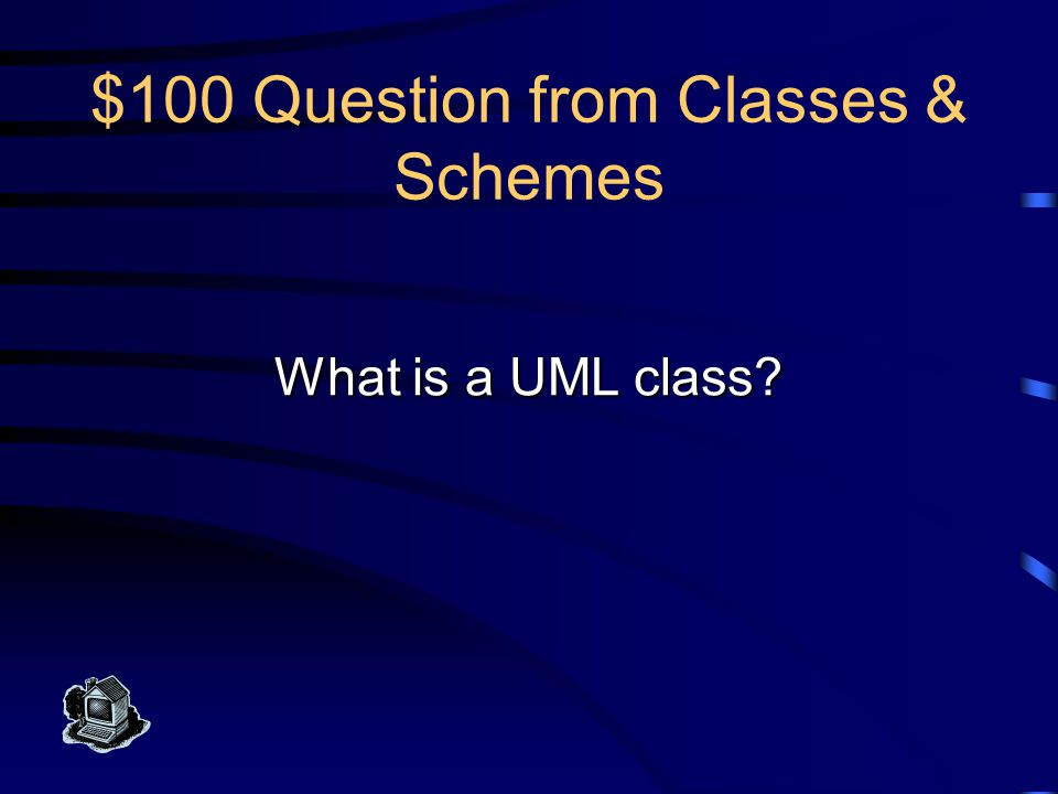 $100 Answer from Classes & Schemes This is any thing in the enterprise that is to be represented in the database by a UML model.