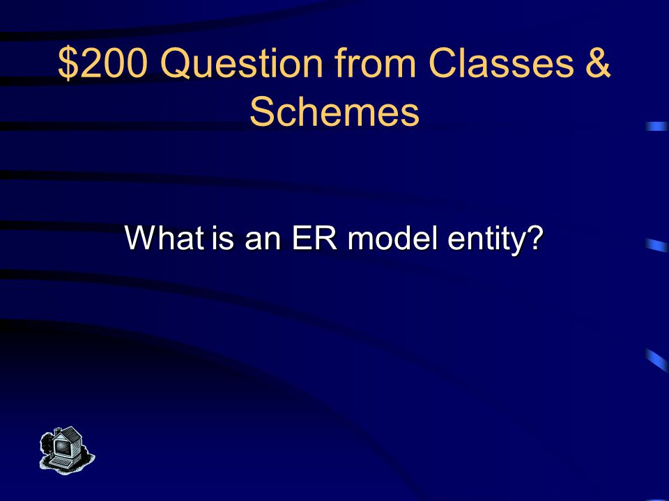 $200 Answer from Classes & Schemes This is any thing in the enterprise that is to be represented in the database by an ER model.