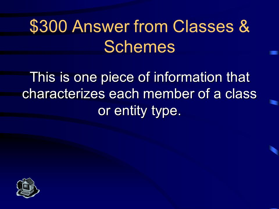 $200 Question from Classes & Schemes What is an ER model entity