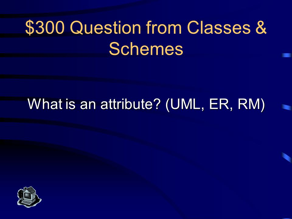 $300 Answer from Classes & Schemes This is one piece of information that characterizes each member of a class or entity type.