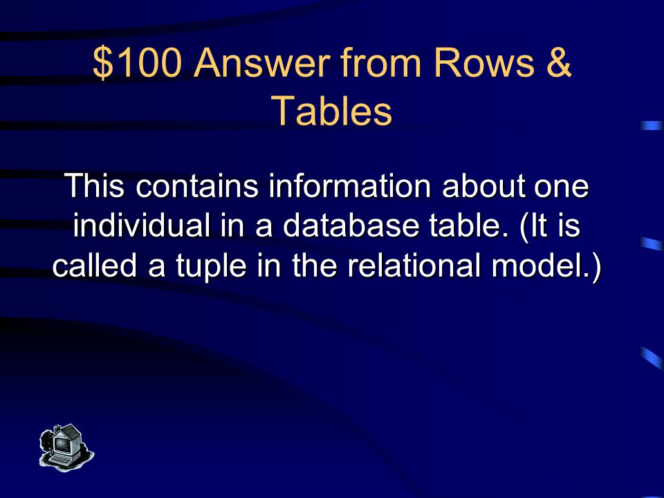 $500 Question from Classes & Schemes What is a relation scheme