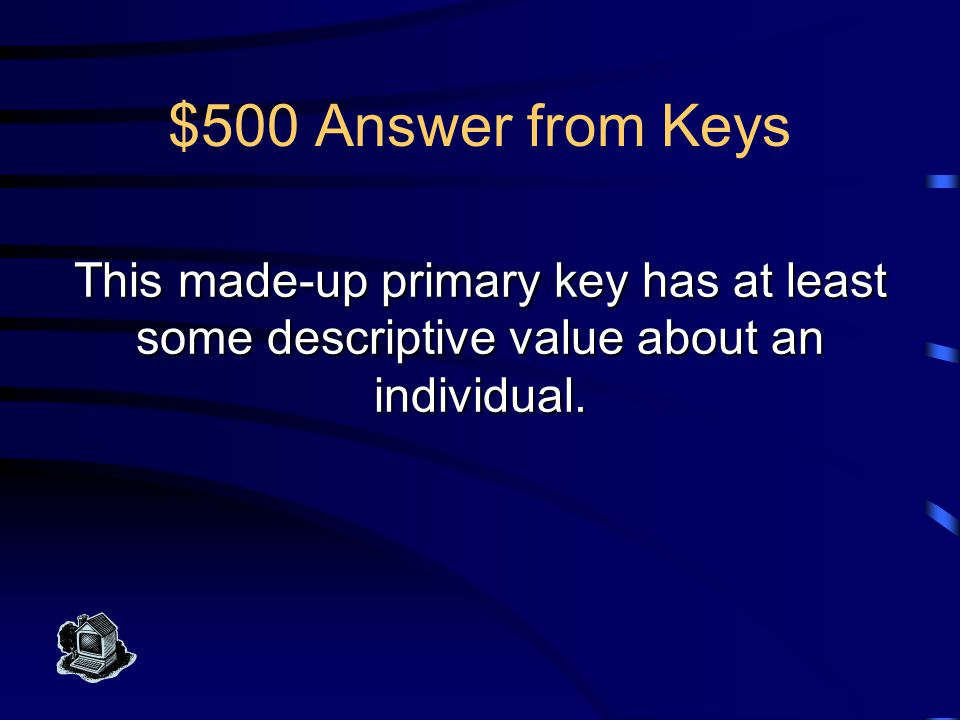$400 Question from Keys What is a surrogate key