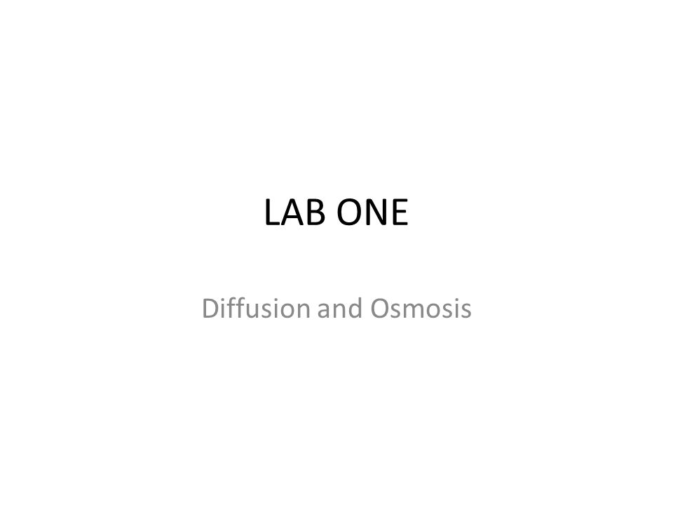 LAB ONE Diffusion and Osmosis