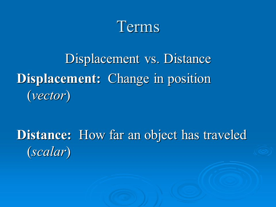 Terms Velocity vs.
