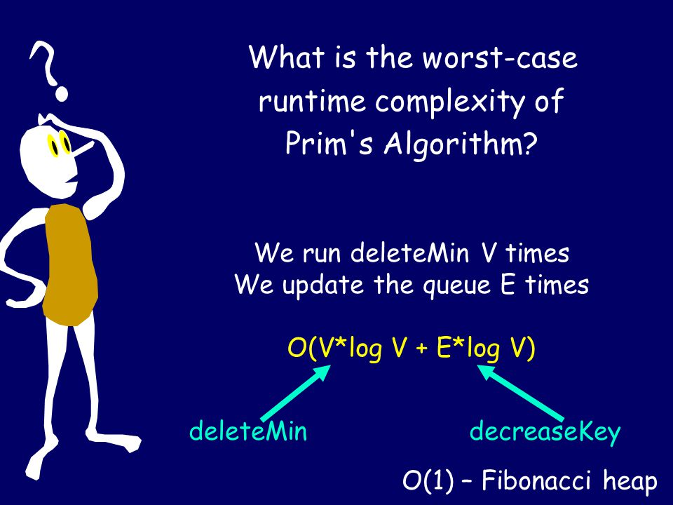 What is the worst-case runtime complexity of Prim's Algorithm? We run deleteMin V times We update the queue E times O(V*log V + E*log V) deleteMindecr