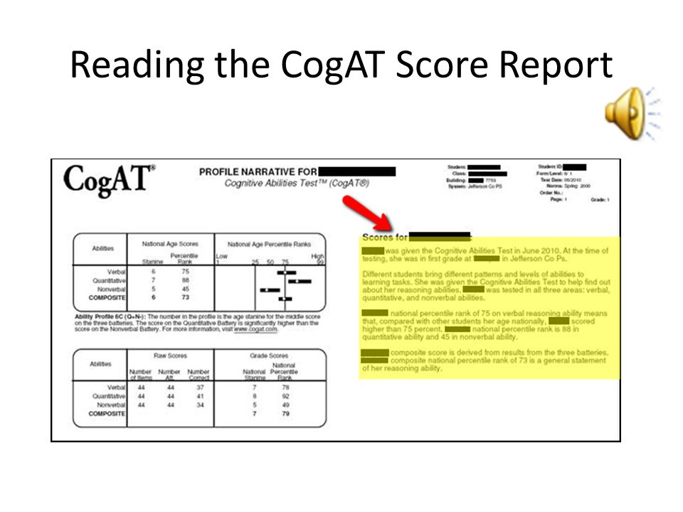 Reading the CogAT Score Report