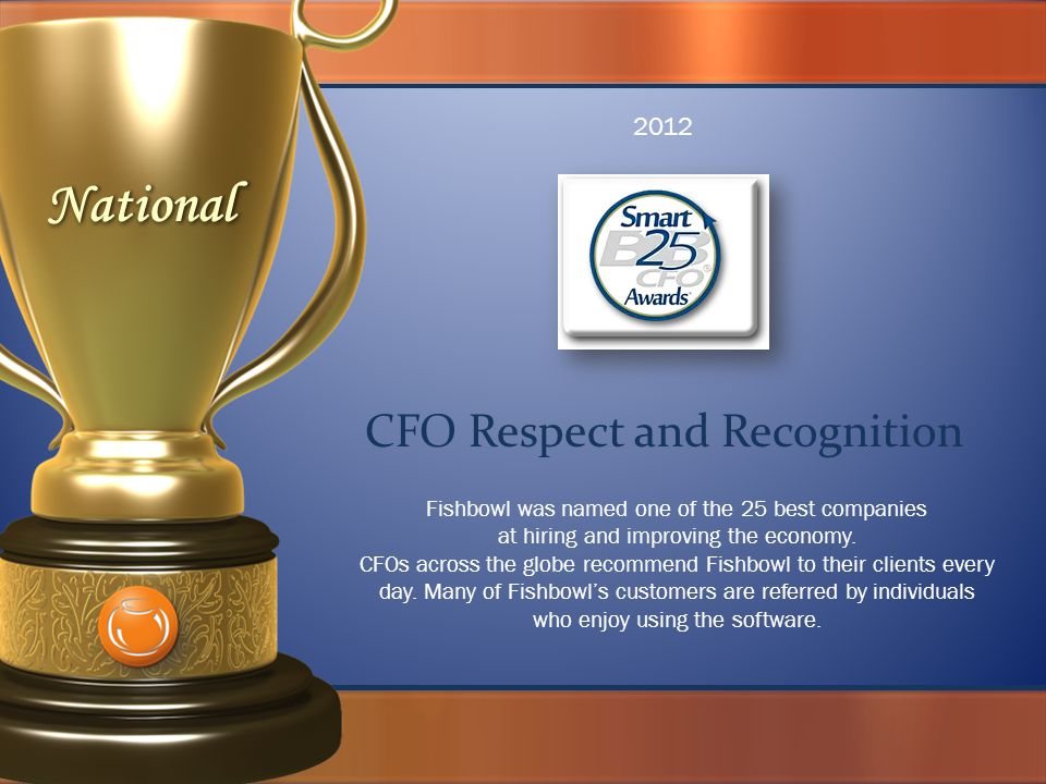 CFO Respect and Recognition 2012 Fishbowl was named one of the 25 best companies at hiring and improving the economy.