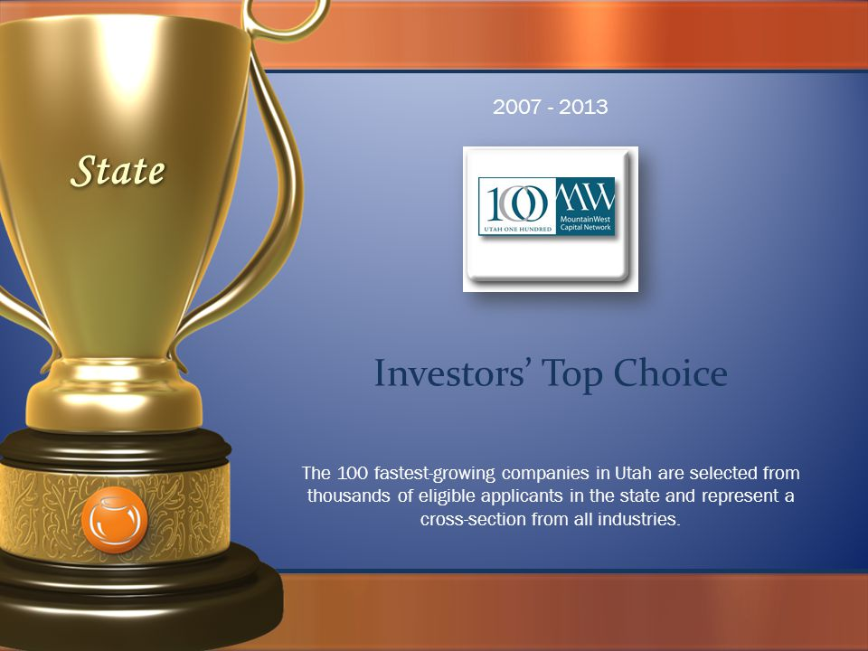 Investors' Top Choice The 100 fastest-growing companies in Utah are selected from thousands of eligible applicants in the state and represent a cross-section from all industries.