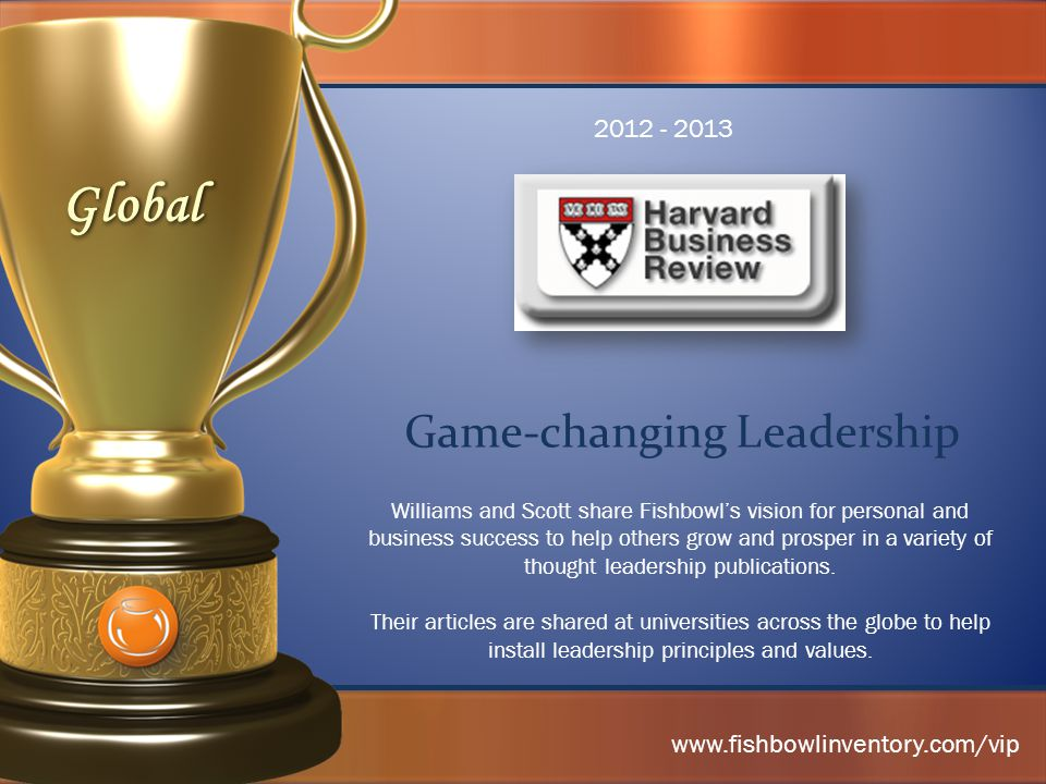 Game-changing Leadership 2012 - 2013 Williams and Scott share Fishbowl's vision for personal and business success to help others grow and prosper in a variety of thought leadership publications.