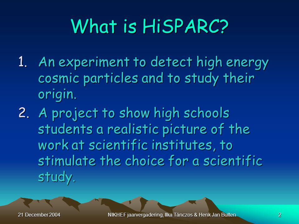 21 December 2004NIKHEF jaarvergadering, Ilka Tánczos & Henk Jan Bulten2 What is HiSPARC.