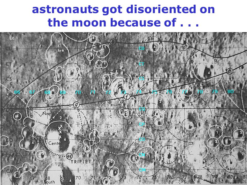 astronauts got disoriented on the moon because of...
