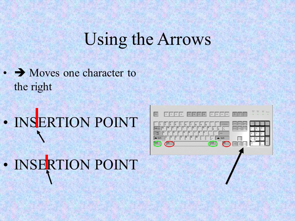 Using the Arrows  Moves one character to the right INSERTION POINT