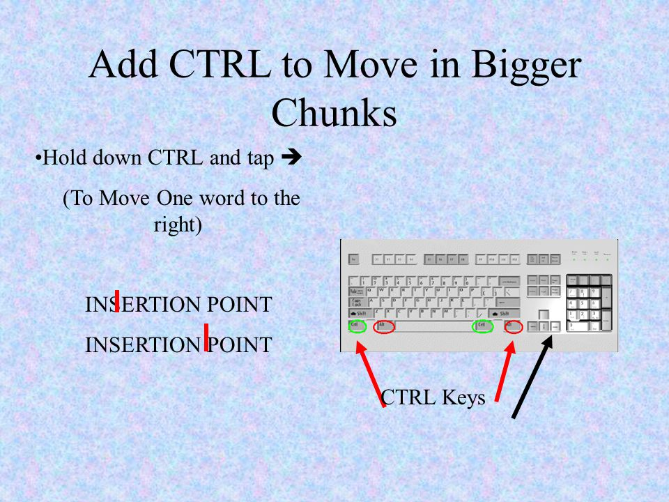 Add CTRL to Move in Bigger Chunks CTRL Keys Hold down CTRL and tap  (To Move One word to the right) INSERTION POINT