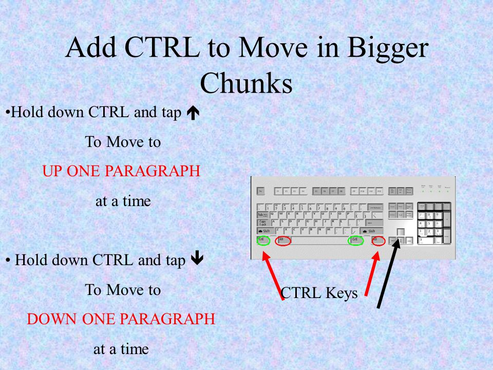 Add CTRL to Move in Bigger Chunks CTRL Keys Hold down CTRL and tap END To Move to the END of the document Hold down CTRL and tap HOME To Move to the BEGINNING of the document
