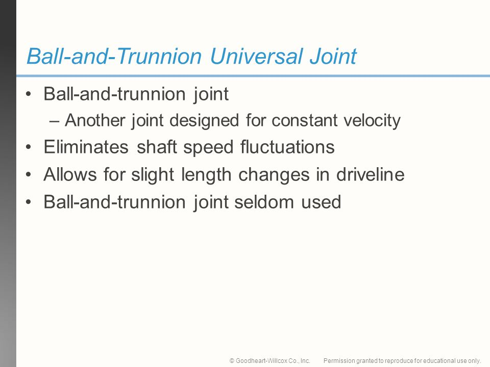 Permission granted to reproduce for educational use only.© Goodheart-Willcox Co., Inc. Ball-and-Trunnion Universal Joint Ball-and-trunnion joint –Anot