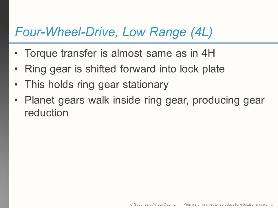 Permission granted to reproduce for educational use only.© Goodheart-Willcox Co., Inc. Four-Wheel-Drive, Low Range (4L) Torque transfer is almost same