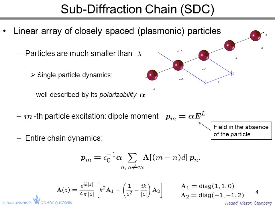 Linear array of closely spaced (plasmonic) particles –Particles are much smaller than  Single particle dynamics: well described by its polarizability – -th particle excitation: dipole moment –Entire chain dynamics: Sub-Diffraction Chain (SDC) 4 Field in the absence of the particle Hadad, Mazor, Steinberg