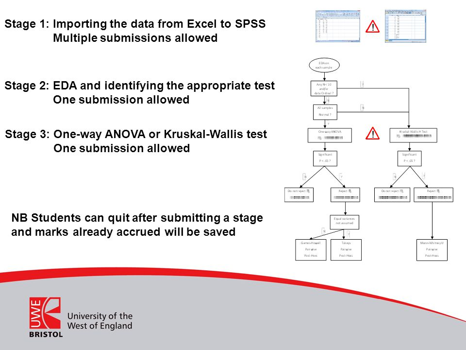 Stage 1: Importing the data from Excel to SPSS Multiple submissions allowed Stage 2: EDA and identifying the appropriate test One submission allowed S