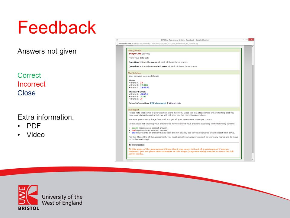 Feedback Correct Incorrect Close Extra information: PDF Video Answers not given