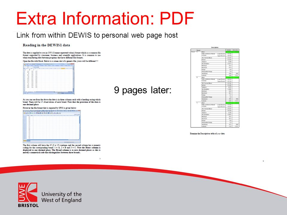 Extra Information: PDF 9 pages later: Link from within DEWIS to personal web page host