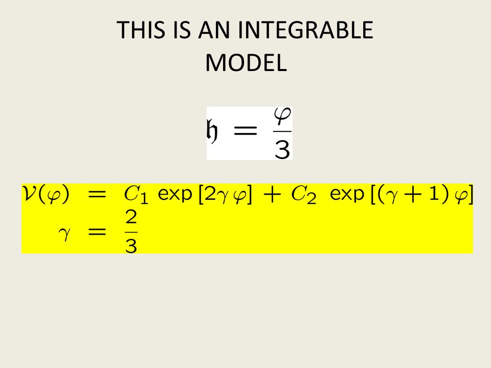THIS IS AN INTEGRABLE MODEL