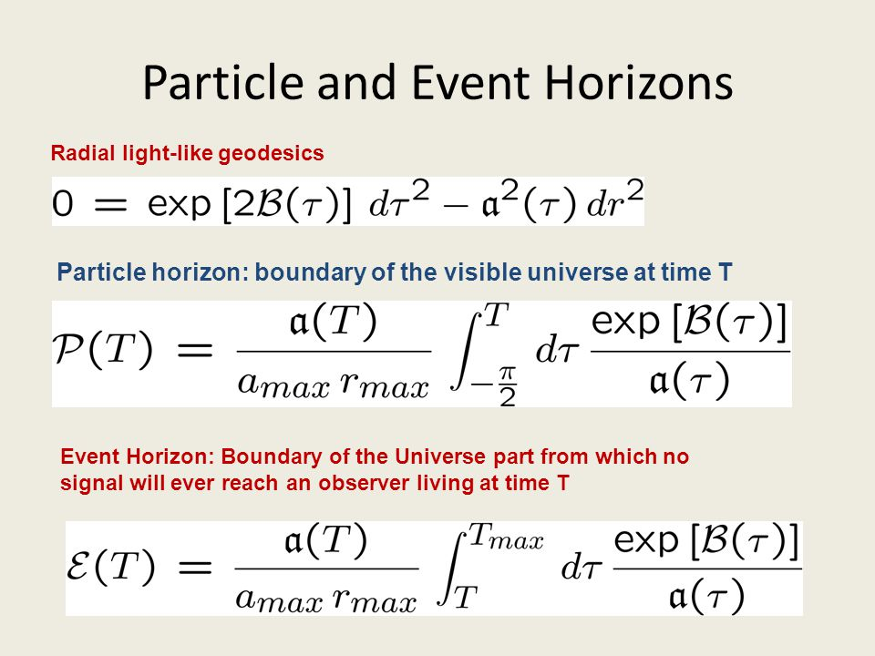 Particle and Event Horizons Radial light-like geodesics Particle horizon: boundary of the visible universe at time T Event Horizon: Boundary of the Un