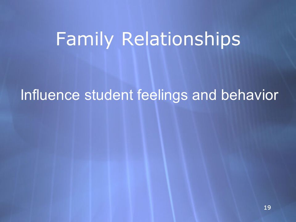 19 Family Relationships Influence student feelings and behavior