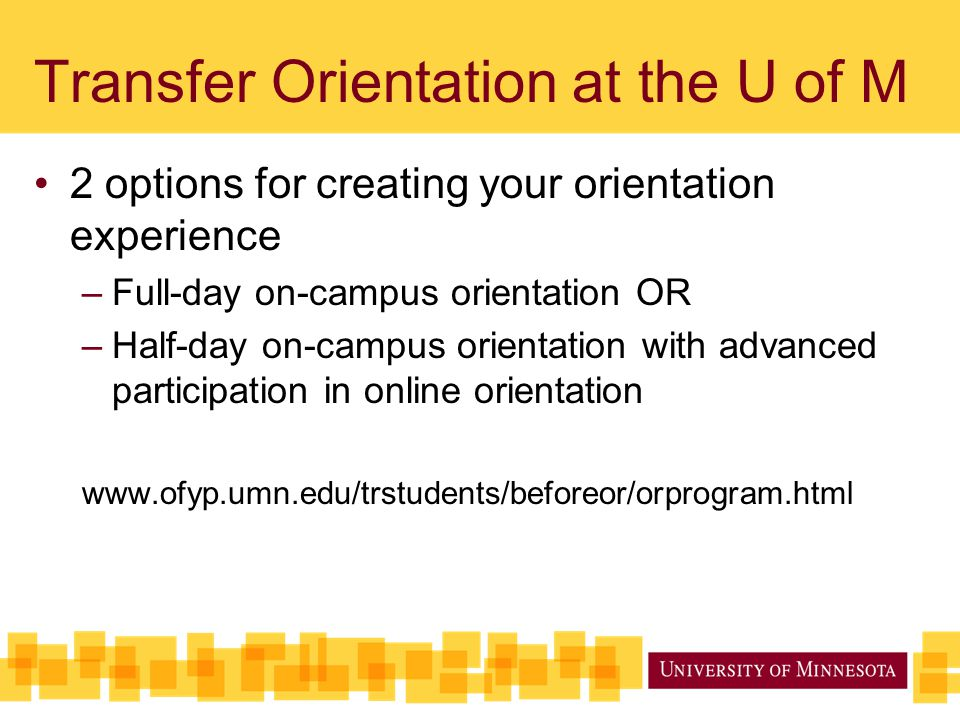 Transfer Orientation at the U of M 2 options for creating your orientation experience –Full-day on-campus orientation OR –Half-day on-campus orientation with advanced participation in online orientation www.ofyp.umn.edu/trstudents/beforeor/orprogram.html